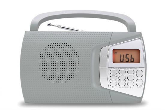 ELTRA Przenośne radio FM / MW / USB / MP3 / LCD DOMINIKA 2 szare